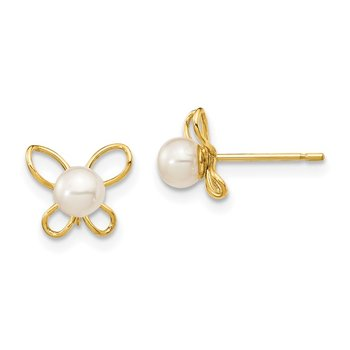 14K Madi K 4-5mm White Button FW Cultured Pearl Butterflies Post Earrings