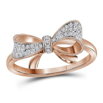 10kt Rose Gold Womens Round Diamond Cluster Ribbon Knot Bow Ring 1/10 Cttw