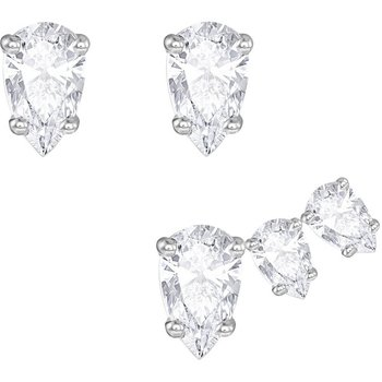 Attract Pear Pierced Earring Set, White, Rhodium plated