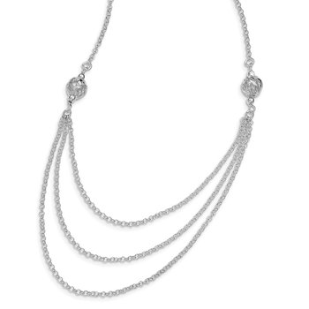 Sterling Silver Rhodium-plated Layered-Look Chain Necklace