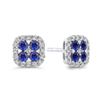 Essentials 10K White Gold 1/3 Ct Diamond with 1 1/5 Ct Sapphire Fashion Earrings