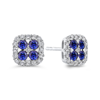 10K White Gold 1/3 Ct Diamond with 1 1/5 Ct Sapphire Fashion Earrings