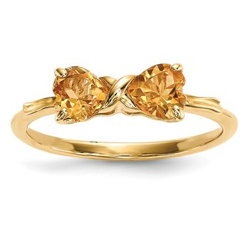 14k Gold Polished Citrine Bow Ring