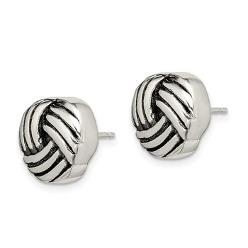 Sterling Silver Antiqued Knot Post Earrings