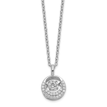 Cheryl M Sterling Silver Moving Brilliant-cut CZ Circle Necklace