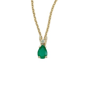 14K Yellow Gold Pear Shaped Emerald & Diamond Pendant