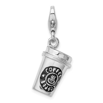 Sterling Silver RH 3-D Enameled To Go Coffee Cup w/Lobster Clasp Charm