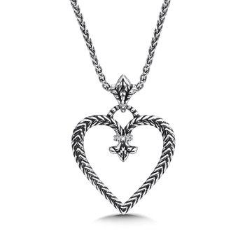 Sterling silver and diamond fleur de lis heart pendant