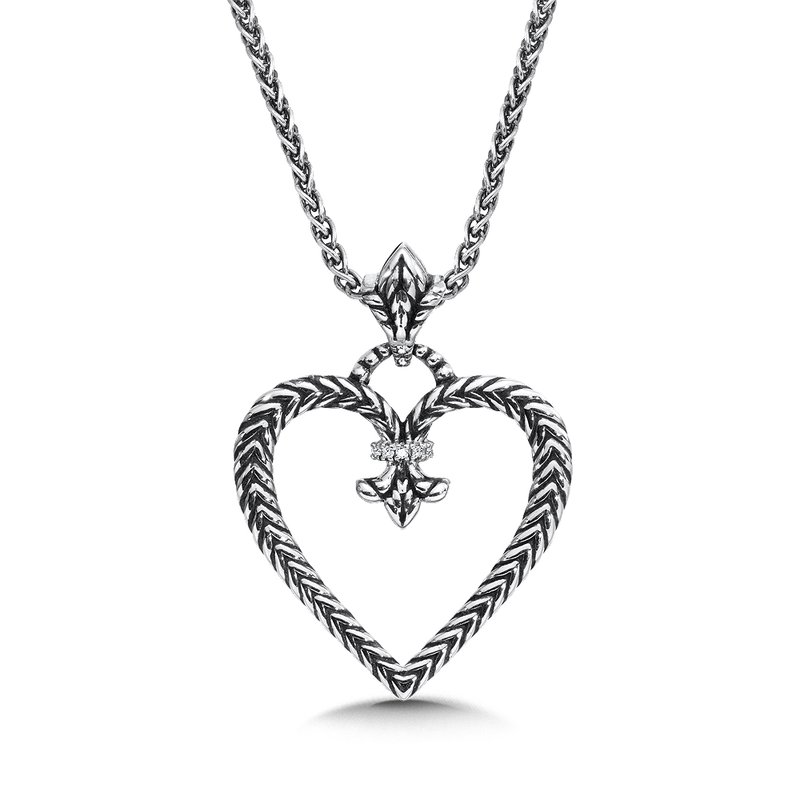 Colore Sg Sterling silver and diamond fleur de lis heart pendant