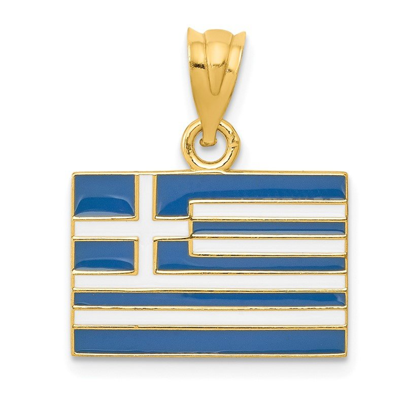 Quality Gold 14k Solid Enameled Greece Flag Pendant