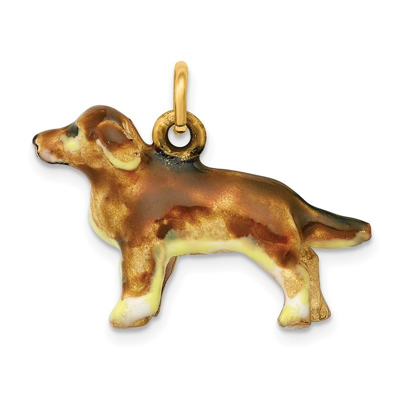 Quality Gold 14k 3D Enameled Small Golden Retriever Dog Charm