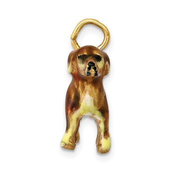 14k 3D Enameled Small Golden Retriever Dog Charm