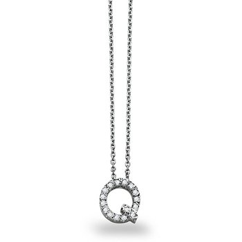 "Diamond Block Initial ""Q"" Necklace in 14k White Gold with 16 Diamonds weighing .12ct tw."