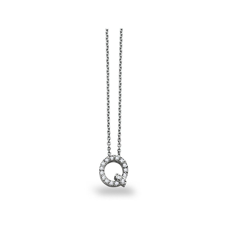 "KC Designs Diamond Block Initial ""Q"" Necklace in 14k White Gold with 16 Diamonds weighing .12ct tw."