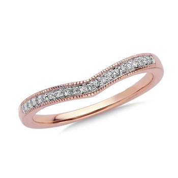Prong set Diamond Stackable V Ring 14k Rose Gold