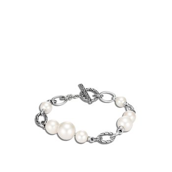 Classic Chain Bracelet in Silver with Pearl