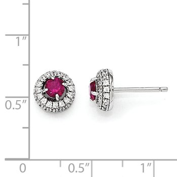 Sterling Silver RH Brilliant Embers Clear and Red CZ Post Earrings