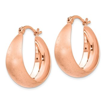 Leslie's SS Rose Gold-plated Radiant Essence Hoop Earrings