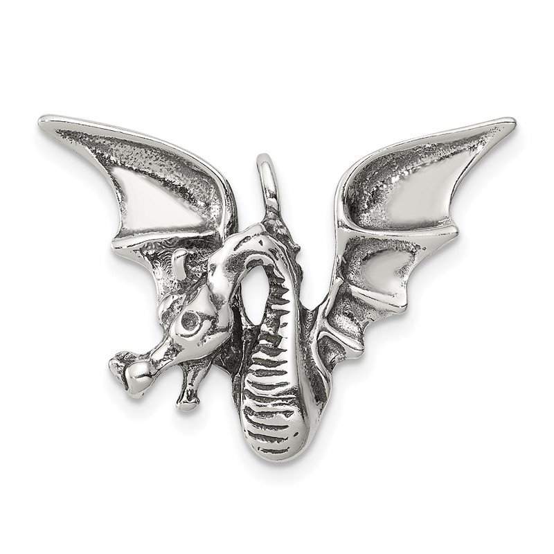 Quality Gold Sterling Silver Antiqued Dragon Pendant
