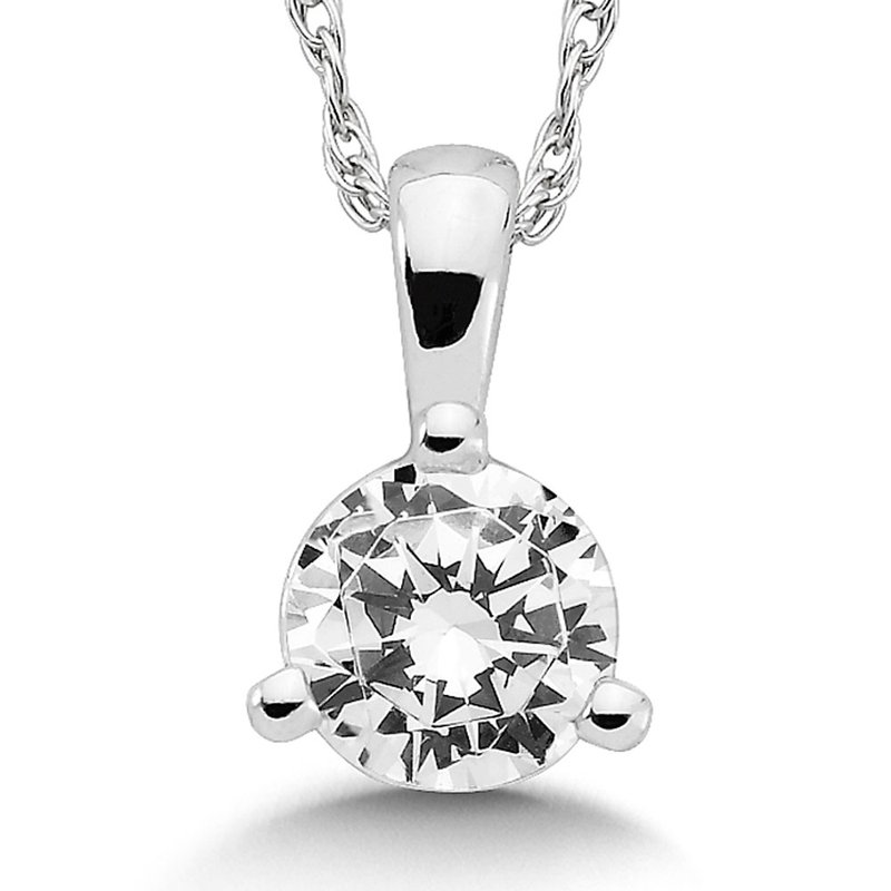 SDC Creations Three Prong Diamond Pendant in 14k White Gold (1/2 ct. tw.)