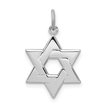 Sterling Silver Rhodium-plated Star of David Charm