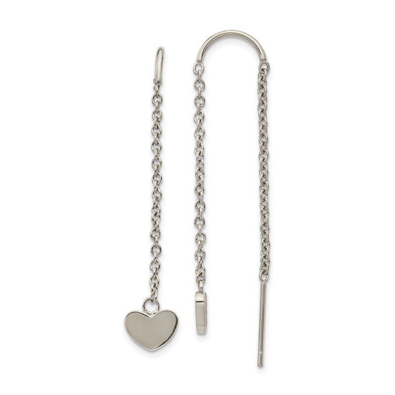 Chisel Stainless Steel Polished Threader Heart Dangle Earrings