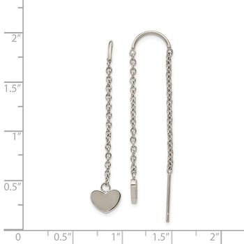 Stainless Steel Polished Threader Heart Dangle Earrings