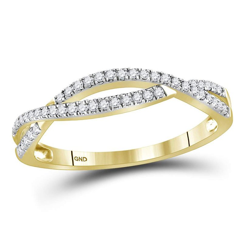 Gold-N-Diamonds 10kt Yellow Gold Womens Round Diamond Crossover Woven Band Ring 1/5 Cttw