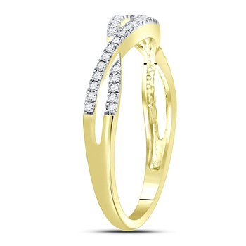 10kt Yellow Gold Womens Round Diamond Crossover Woven Band Ring 1/5 Cttw