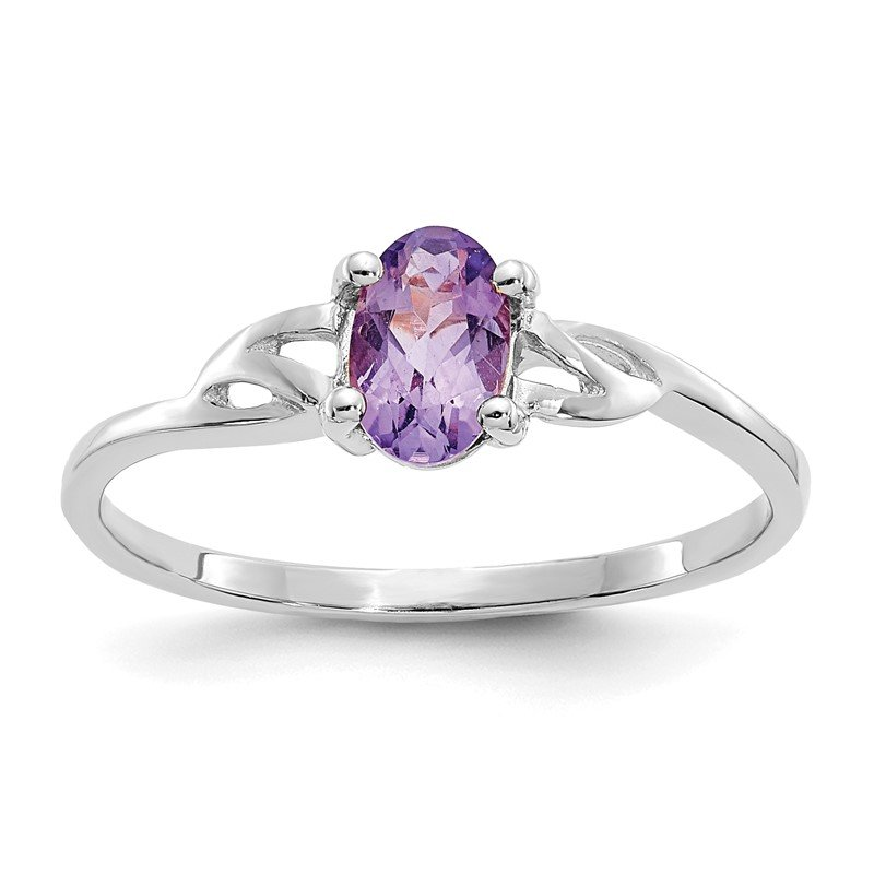 Quality Gold 10k White Gold Polished Geniune Amethyst Birthstone Ring