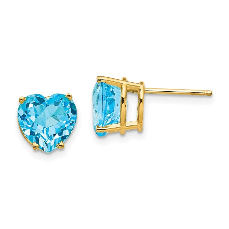 Quality Gold 14k 8mm Heart Blue Topaz earring