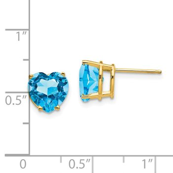 14k 8mm Heart Blue Topaz earring