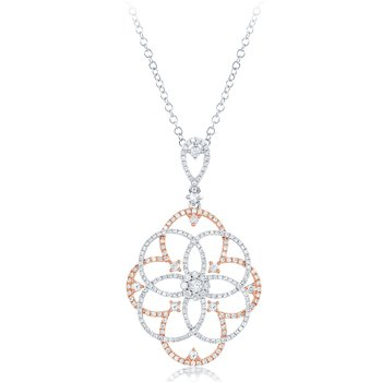 Rose & White Diamond Pendant