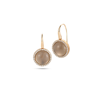 Earrings with Diamonds, Quartz and Mother of Pearl