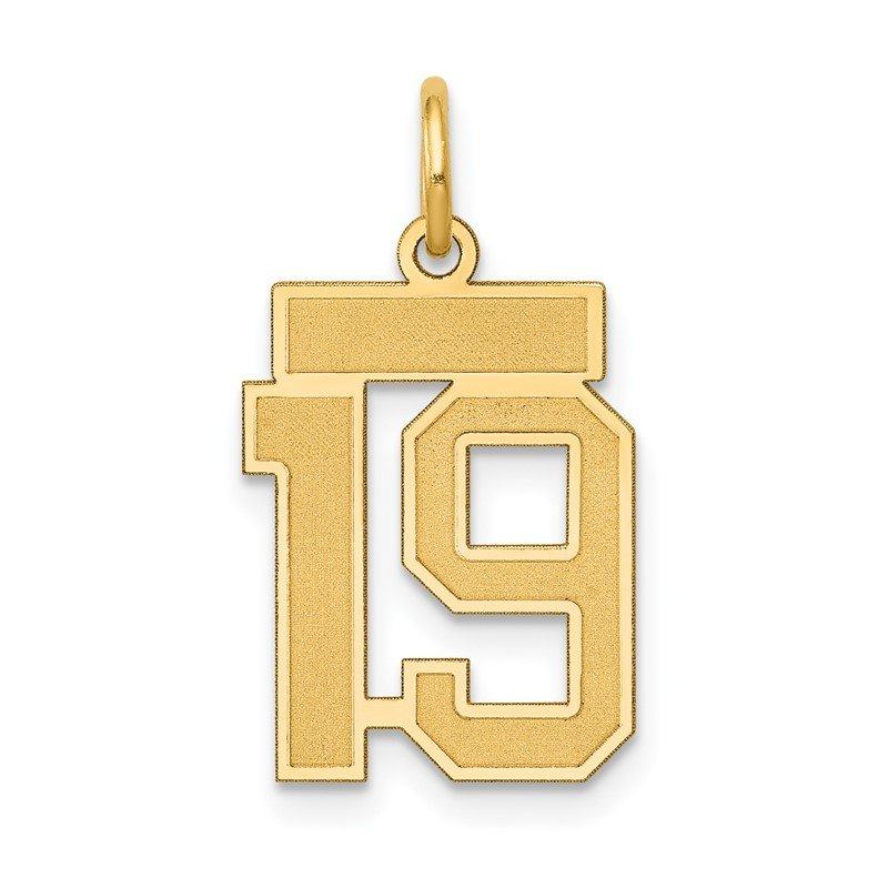 Quality Gold 14k Small Satin Number 19 Charm