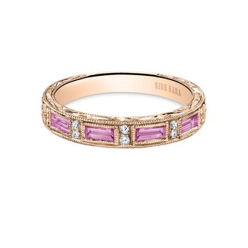 Deco Pink Sapphire Diamond Wedding Band