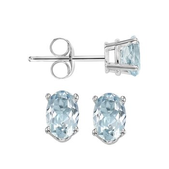 Oval Prong Set Aquamarine Studs in 14K White Gold