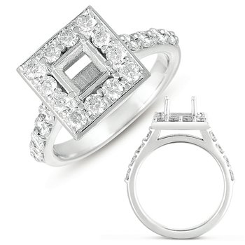 White Gold Halo Ring 5.5mm square head