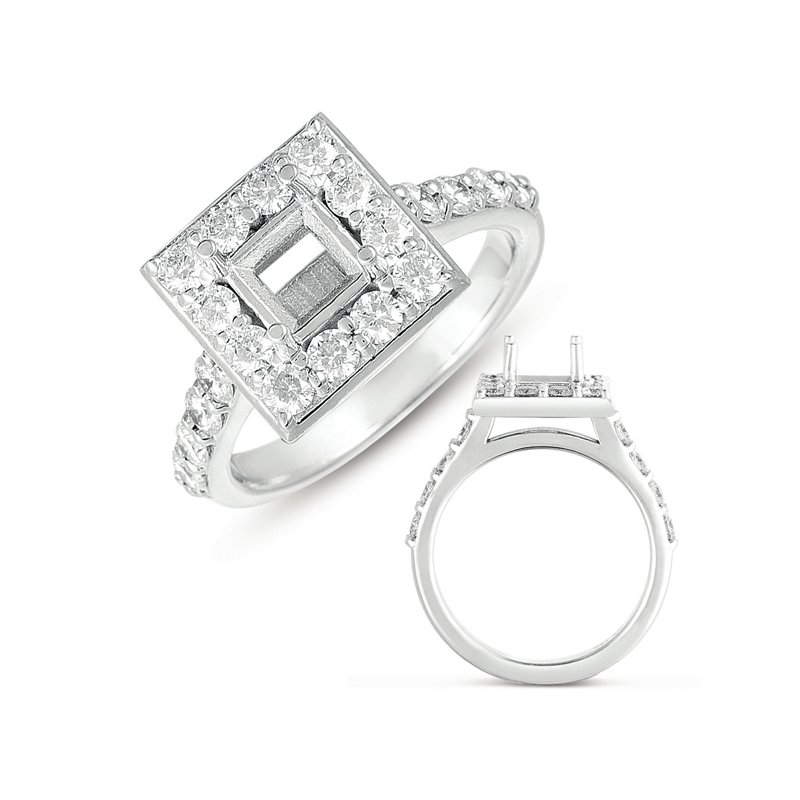 S. Kashi & Sons Bridal White Gold Halo Ring 5.5mm square head