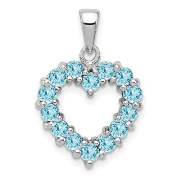 Sterling Silver Rhodium Light Swiss Blue Topaz Heart Pendant