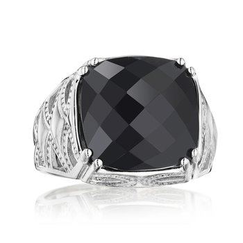Petite Woven Crescent Ring featuring Black Onyx