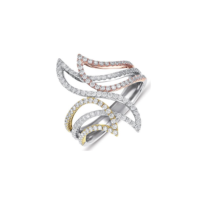 S. Kashi  & Sons Tri Color M. Pave Ring