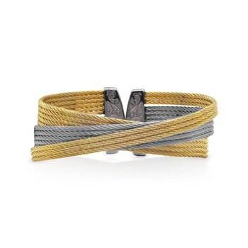 Yellow & Grey Cable Twist Cuff