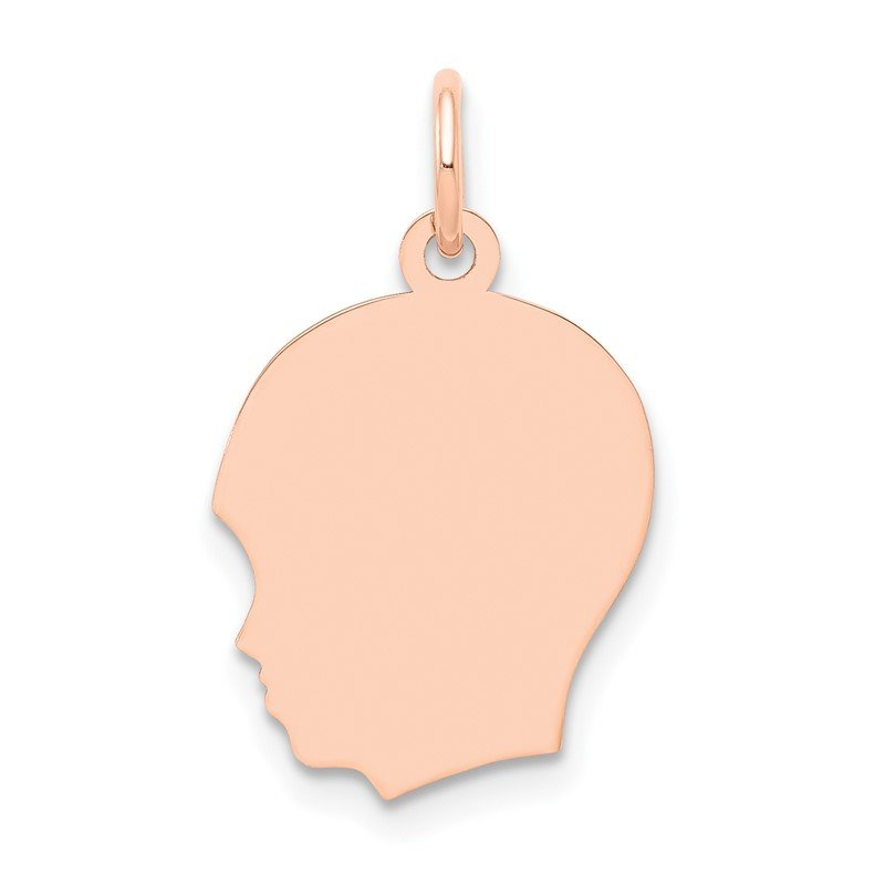 Quality Gold 14k Rose Plain Medium.011 Depth Facing Left Engravable Boy Head Charm