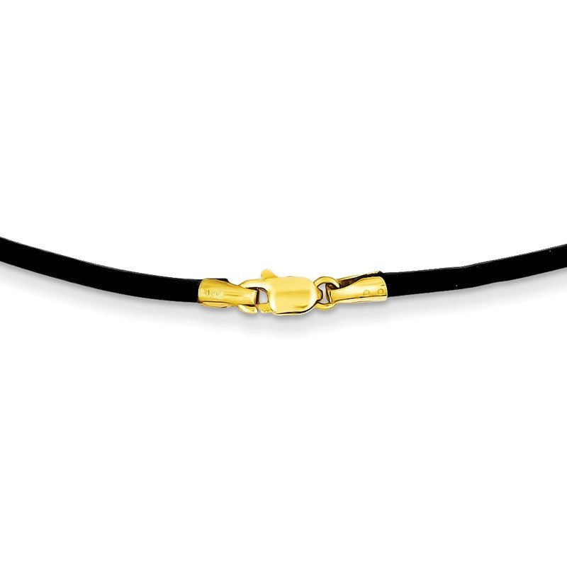 Quality Gold 14k 2mm 16in Black Leather Cord Necklace