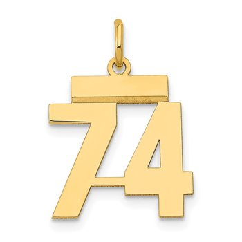 14k Small Polished Number 74 Charm