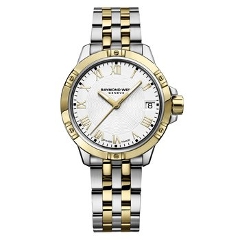 Ladies Quartz Date Watch, 30mm Two-tone, white dial