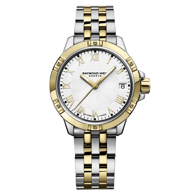 Raymond Weil Ladies Quartz Date Watch, 30mm Two-tone, white dial