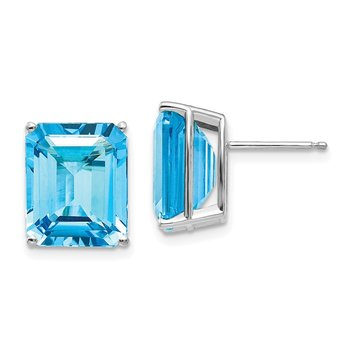 14k White Gold 12x10mm Emerald Cut Blue Topaz Earrings