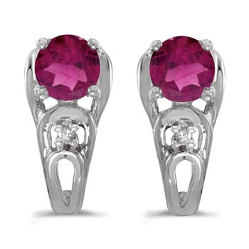 14k White Gold Round Rhodolite Garnet And Diamond Earrings